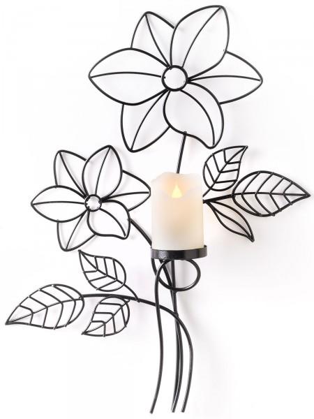 "Wanddeko ""Blume"" mit LED-Kerze"