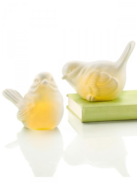 LED-Porzellanvogel-Duo