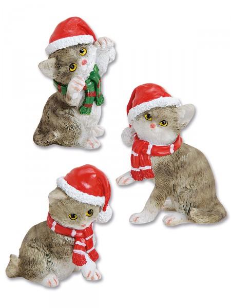 Kätzchen-Trio Weihnachtsmütze
