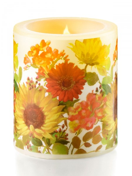 """Kerze """"Sonnige Blumen"""""""