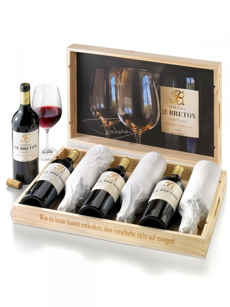 """""""Château Le Breton"""" 6 x 0,75 l in Holzkiste, Cuvee Premium Bordeaux Supérieur 2018"""